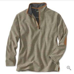 Orvis Simoom deep tan tweed quarter zip pullover